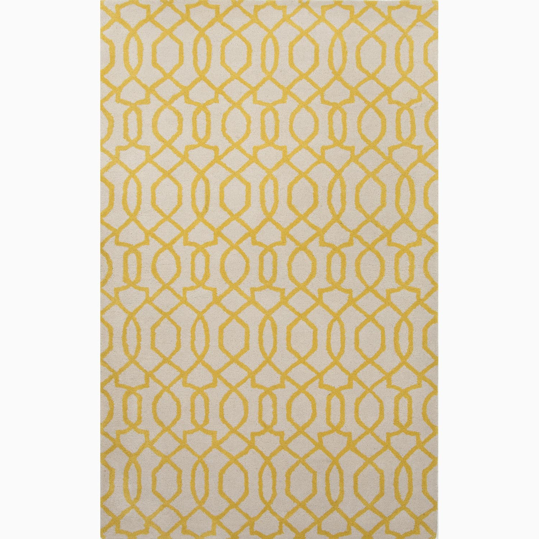Handmade Ivory/ Yellow Wool Te x tured Rug (3'6 x 5'6)