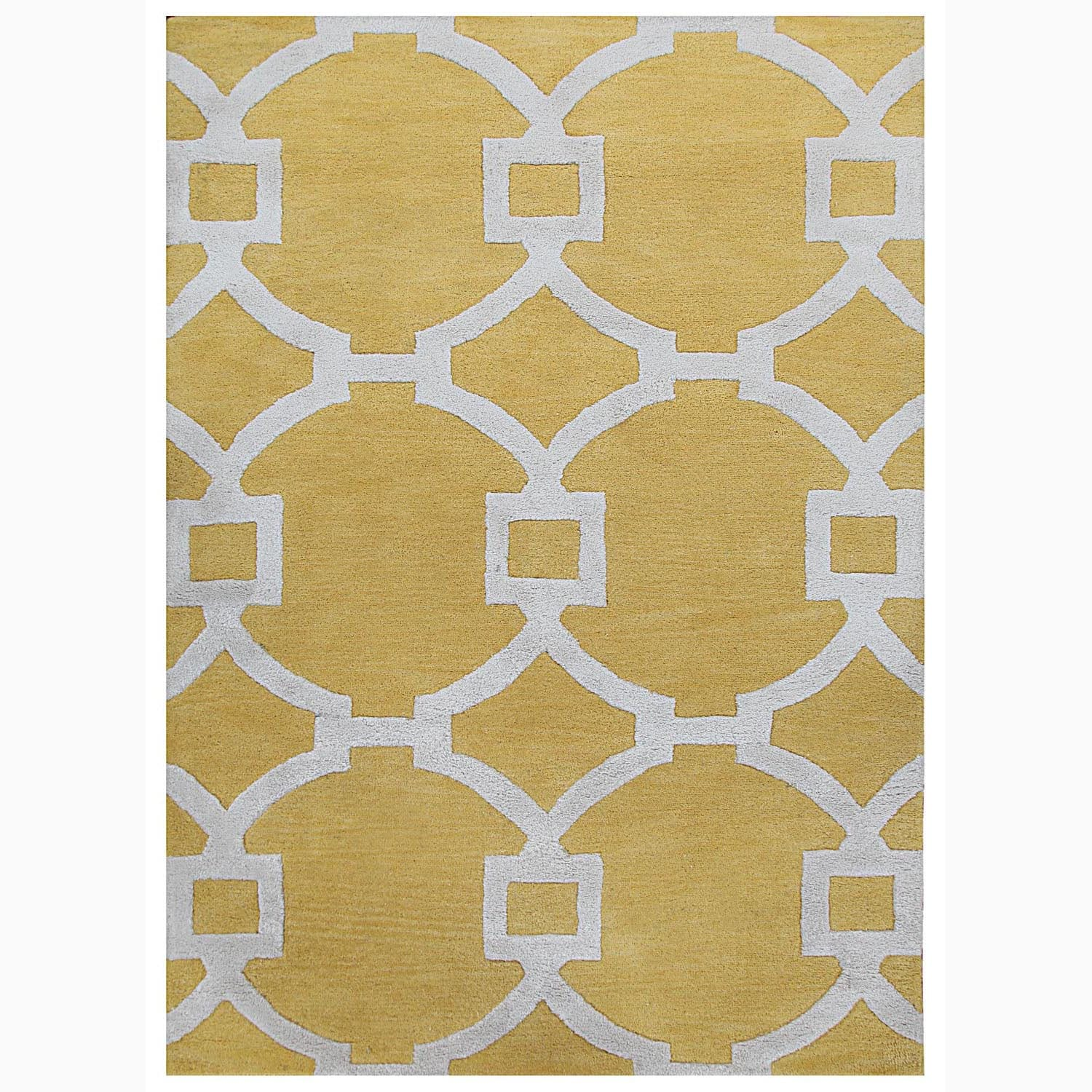 Handmade Geometric Pattern Yellow/ Ivory Wool/ Art Silk Rug (8 x 11)
