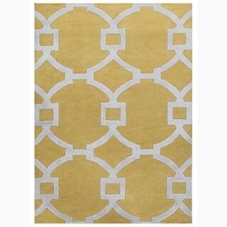 Handmade Geometric Pattern Yellow/ Ivory Wool/ Art Silk Rug (8 x 11)