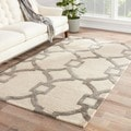 Handmade Geometric Pattern Ivory/ Gray Wool/ Art Silk Rug (9'6 x 13'6)