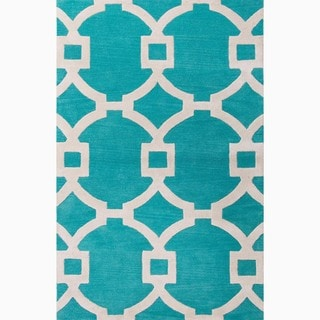 Handmade Geometric Pattern Blue/ Ivory Wool/ Art Silk Rug (9'6 x 13'6)
