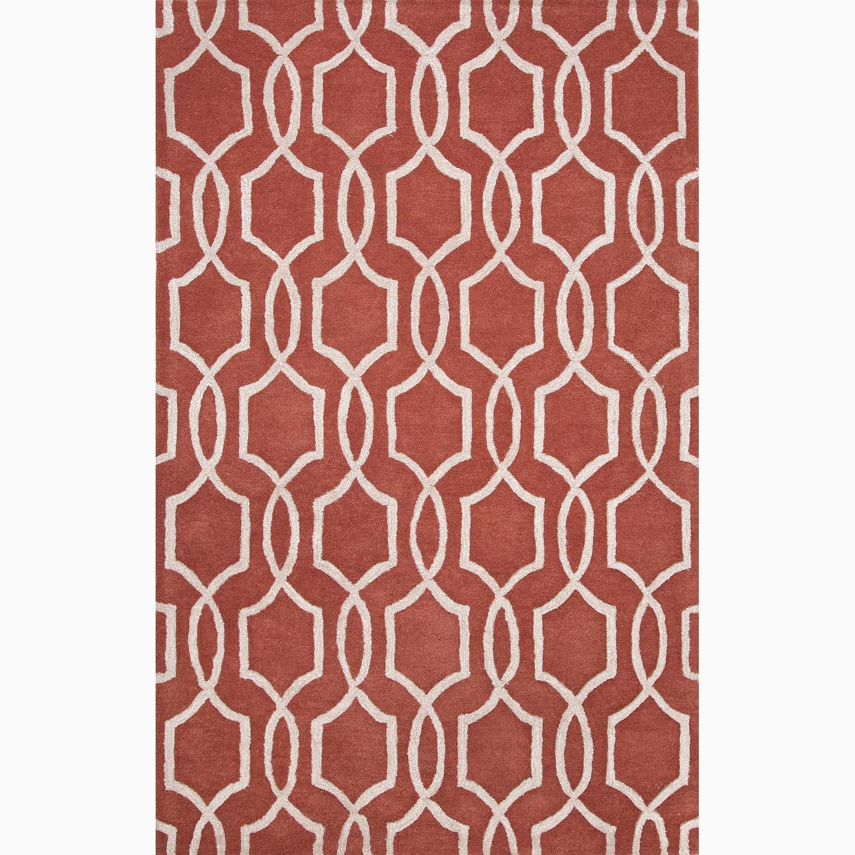 Handmade Red/ Ivory Wool/ Art Silk Te x tured Rug (8 x 11)