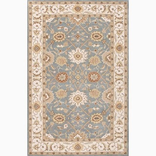 Hand-Made Blue/ Ivory Wool Easy Care Rug (8x10)