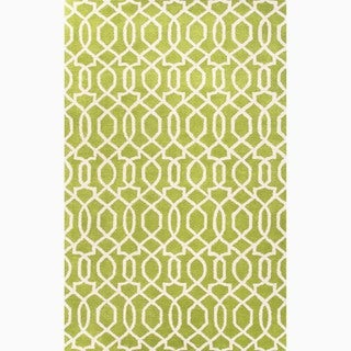 Hand-Made Green/ Ivory Wool Textured Rug (9.6x13.6)