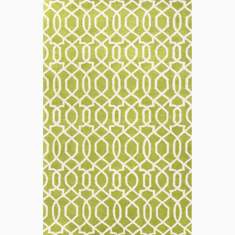Handmade Green/ Ivory Wool Te x tured Rug (8 x 11)