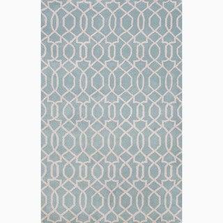 Handmade Blue/ Ivory Wool Te x tured Rug (9'6 x 13'6)