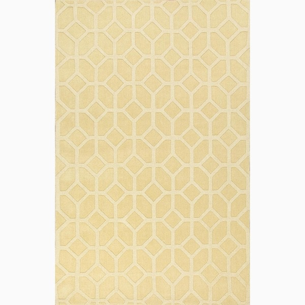 Handmade Yellow/ Gold Wool Te x tured Rug (2 x 3)