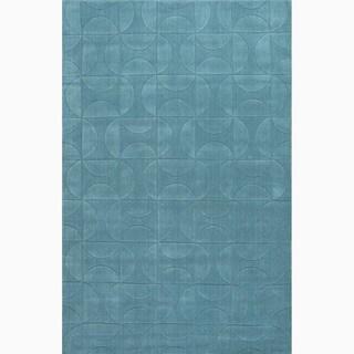 Hand-Made Blue Wool Textured Rug (8X11)