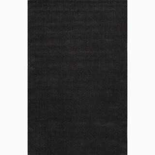 Hand-Made Black Wool Textured Rug (8X11)