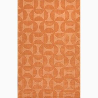 Hand-Made Orange Wool Textured Rug (8X11)