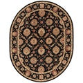Handmade Oriental Pattern Black/ Red Wool Rug (8 x 10 Oval)