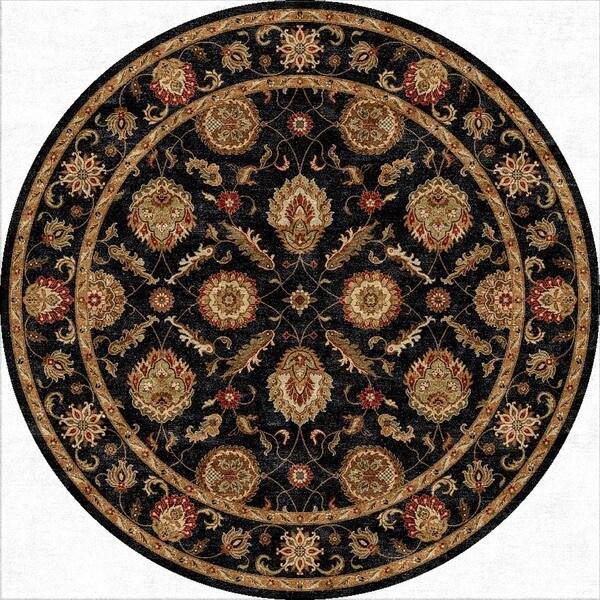 Handmade Oriental Pattern Black/ Red Wool Rug (8 x 8)
