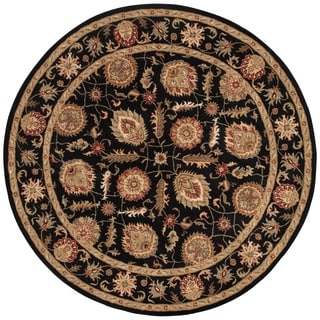 Handmade Oriental Pattern Black/ Red Wool Rug (10 x 10)