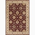 Hand-Made Oriental Pattern Red/ Taupe Wool Rug (4x8)