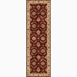 Hand-Made Oriental Pattern Red/ Taupe Wool Rug (2.6x6)