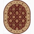 Hand-Made Oriental Pattern Red/ Taupe Wool Rug (8x10 Oval)