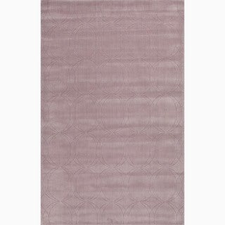 Hand-Made Purple Wool Textured Rug (3.6X5.6)