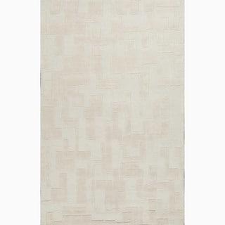 Handmade Ivory/ White Wool Te x tured Rug (5 x 8)