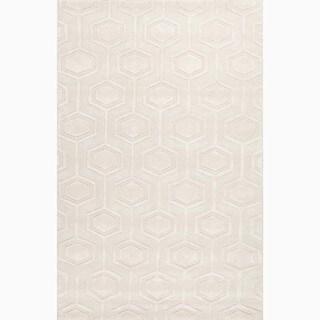 Handmade Ivory/ White Wool Te x tured Rug (4 x 6)