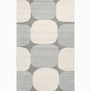 Handmade Gray/ Ivory Wool Te x tured Rug (5 x 8)