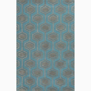 Handmade Blue/ Gray Wool Te x tured Rug (2 x 3)