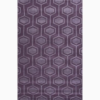 Handmade Purple Wool Te x tured Rug (4 x 6)