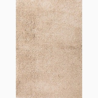 Handmade Solid Pattern Taupe/ Tan Polyester Rug (8 x 10)