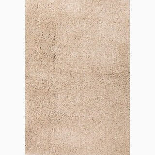 Handmade Solid Pattern Taupe/ Tan Polyester Rug (4 x 6)