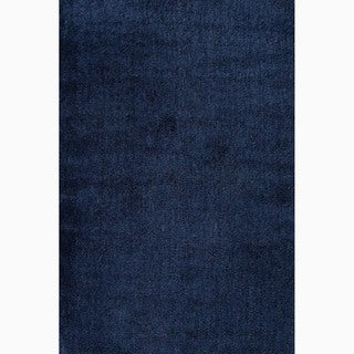 Handmade Solid Pattern Blue Polyester Rug (8 x 10)