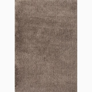 Hand-Made Solid Pattern Taupe/ Tan Polyester Rug (5X8)