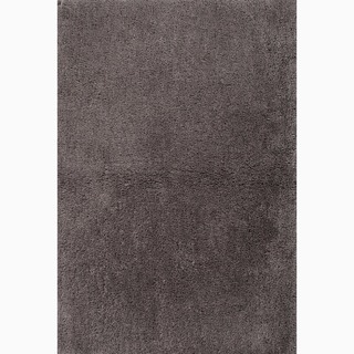 Handmade Solid Pattern Gray Polyester Rug (8 x 10)