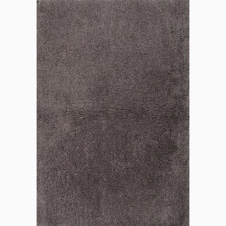 Hand-Made Solid Pattern Gray Polyester Rug (4X6)