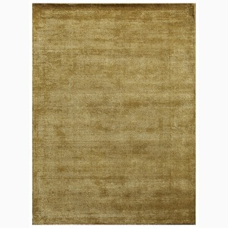 Handmade Solid Pattern Green Wool/ Art Silk Rug (8 x 10)