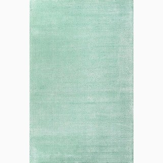Handmade Solid Pattern Aqua Blue Wool/ Art Silk Rug (3'6'' x 5'6'')