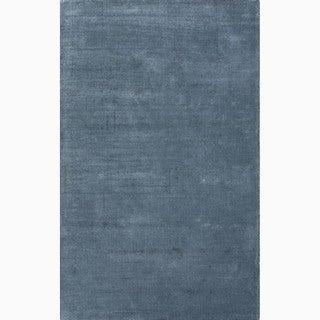 Handmade Solid Pattern Blue Wool/ Art Silk Rug (8 x 10)