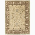 Hand-Made Oriental Pattern Taupe/ Brown Wool Rug (6x9)