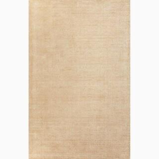 Handmade Solid Pattern Taupe/ Tan Wool/ Art Silk Rug (8 x 10)