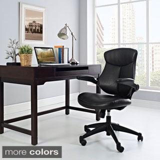 Stealth Black Mid-back Adjustable Leather Office Chair