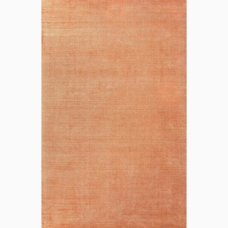 Handmade Solid Pattern Orange Wool/ Art Silk Rug (8 x 10)