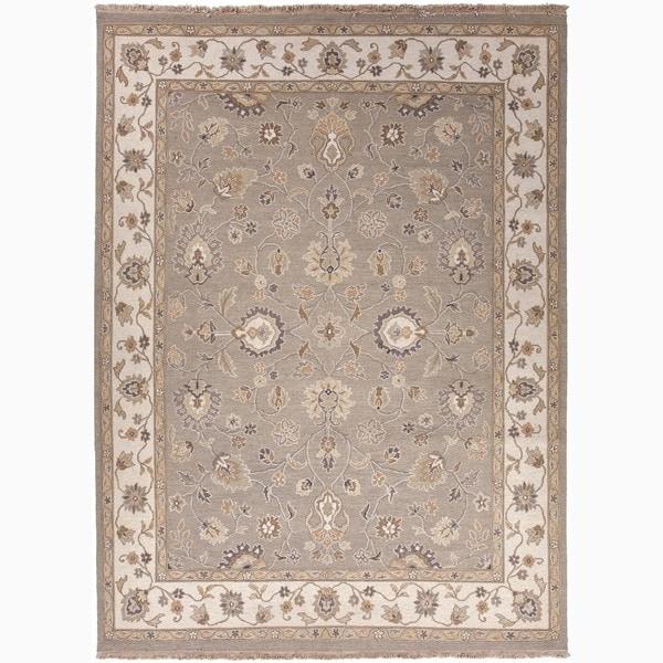 Hand-Made Oriental Pattern Gray/ Ivory Wool Rug (10x14)