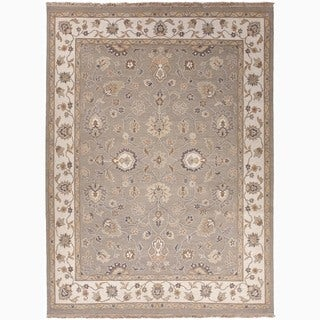 Hand-Made Oriental Pattern Gray/ Ivory Wool Rug (10x14)