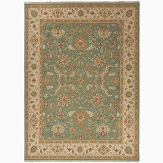 Hand-Made Oriental Pattern Green/ Ivory Wool Rug (9x12)