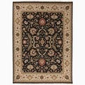 Hand-Made Oriental Pattern Black/ Ivory Wool Rug (6x9)