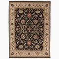 Hand-Made Oriental Pattern Black/ Ivory Wool Rug (2x3)