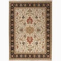 Hand-Made Oriental Pattern Ivory/ Black Wool Rug (10x14)