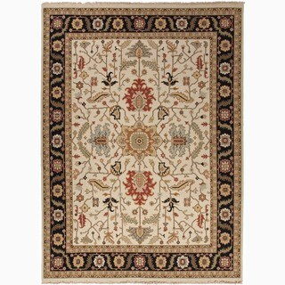 Hand-Made Oriental Pattern Ivory/ Black Wool Rug (6x9)