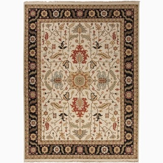 Hand-Made Oriental Pattern Ivory/ Black Wool Rug (2x3)