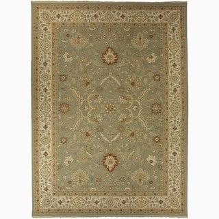 Hand-Made Oriental Pattern Green/ Ivory Wool Rug (8x10)