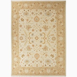 Hand-Made Oriental Pattern Ivory/ Taupe Wool Rug (9x12)