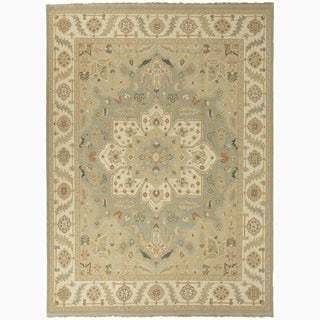 Hand-Made Oriental Pattern Blue/ Ivory Wool Rug (2x3)